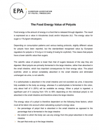 The Food Energy Value of Polyols